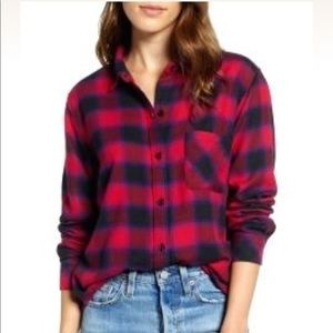 Rails Red & Black Flannel Button Down Top